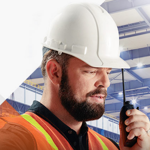 construction staffs communicate better with walkie talkie